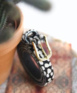 dierenprint riem gouden gesp tannery leather