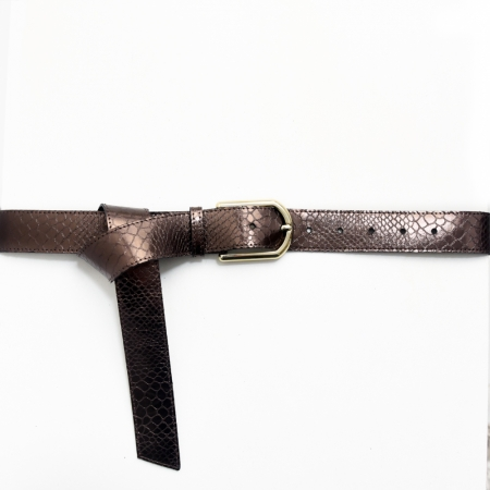 Tailleriem slangenprint brons