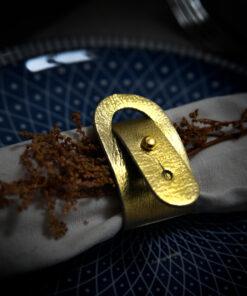 servetringen leer goud tannery leather
